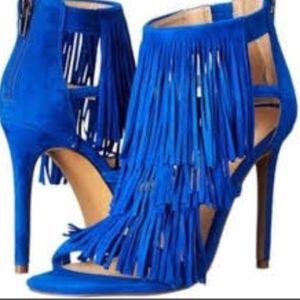 NWOB Steve Madden Blue Suede Fringe Evening Shoes
